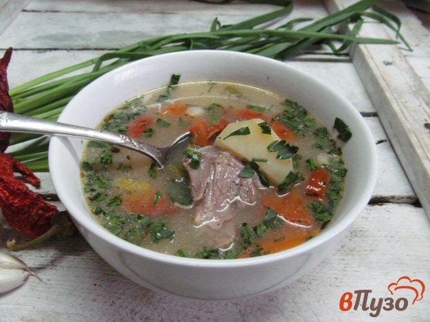 фото рецепта: Суп с фасолью и томатами на бульоне из баранины