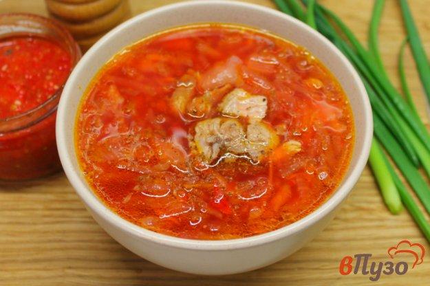 фото рецепта: Красный борщ на мясном бульоне с пекинской капустой и фасолью