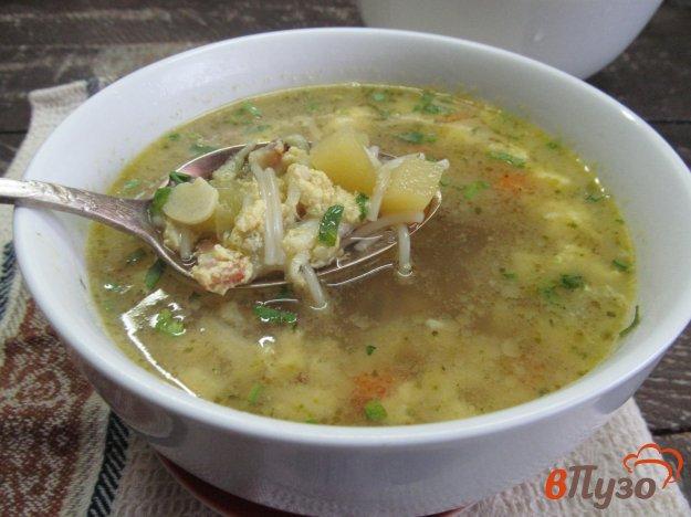 фото рецепта: Картофельный суп с яйцом на беконе