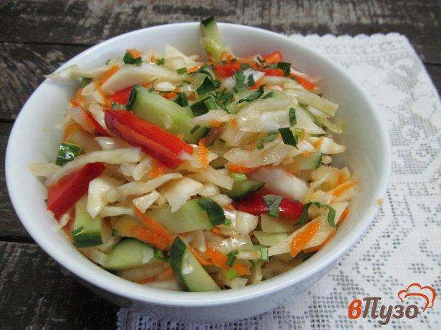 фото рецепта: Салат из маринованной капусты с огурцом и перцем