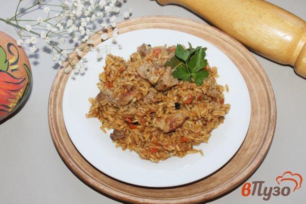 фото рецепта: Рис на сковороде со свининой