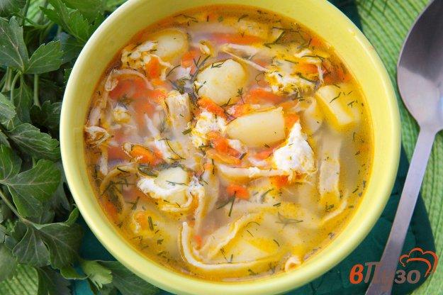 фото рецепта: Суп с лапшой и яйцом на курином бульоне