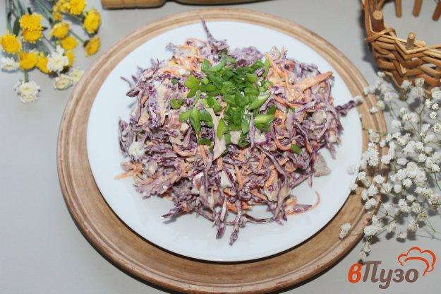 фото рецепта: Салат из краснокочанной капусты со свининой, копченой колбасой и яйцом