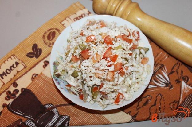 фото рецепта: Салат из пекинской капусты с мясом и помидорами