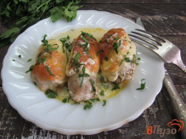 фото рецепта: Фаршированные куриные отбивные под сыром