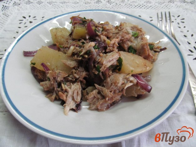 фото рецепта: Жареный картофель с вареным мясом и фенхелем
