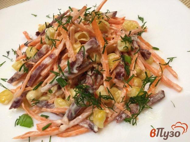 фото рецепта: Морковный салат с копченой колбасой