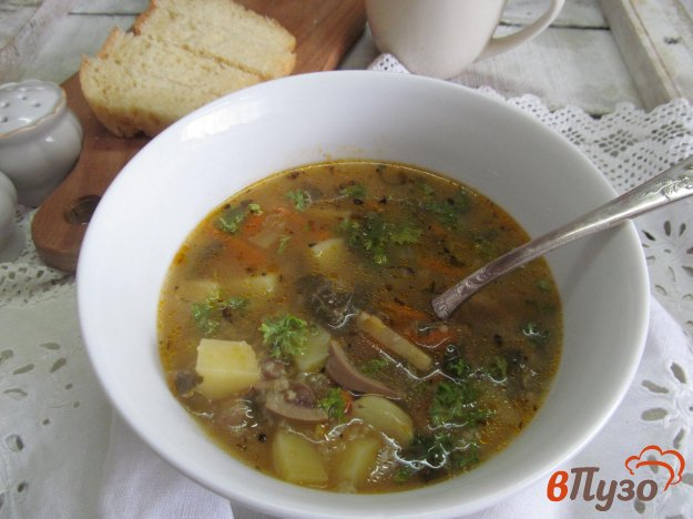 фото рецепта: Рисовый суп с почками и щавелем
