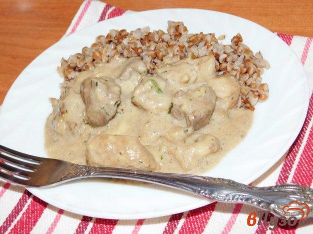фото рецепта: Зажарка из свинины и куриной печени
