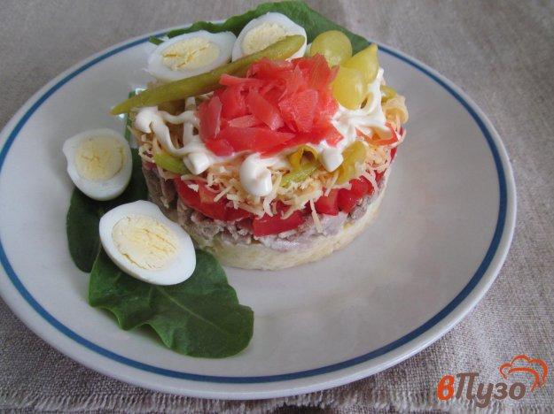 фото рецепта: Слоеный салат из картофеля помидора и мяса