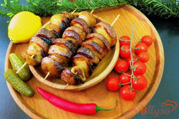 фото рецепта: Шашлык из картофеля с салом