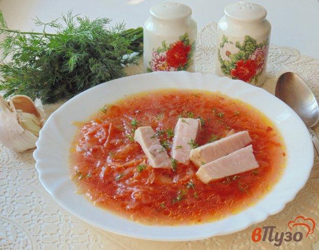 фото рецепта: Красный борщ с чесноком и бужениной