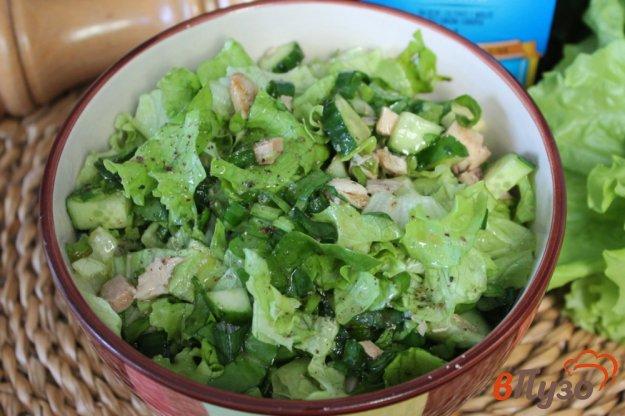 фото рецепта: Зеленый салат с курицей и огурцом