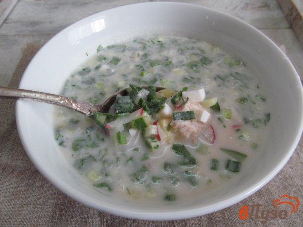 фото рецепта: Окрошка на кефире и минеральной воде с хреном и горчицей
