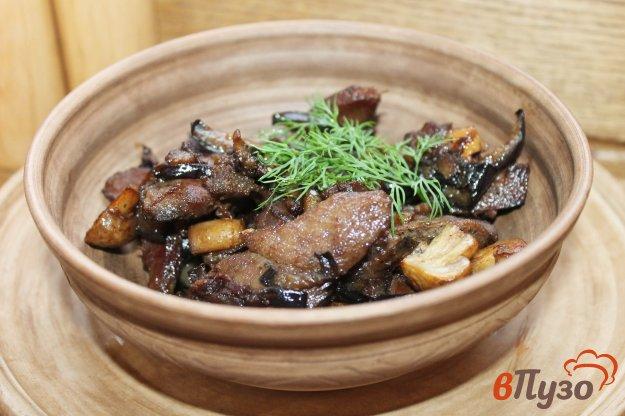 фото рецепта: Жареная грудка с баклажанами и грибами