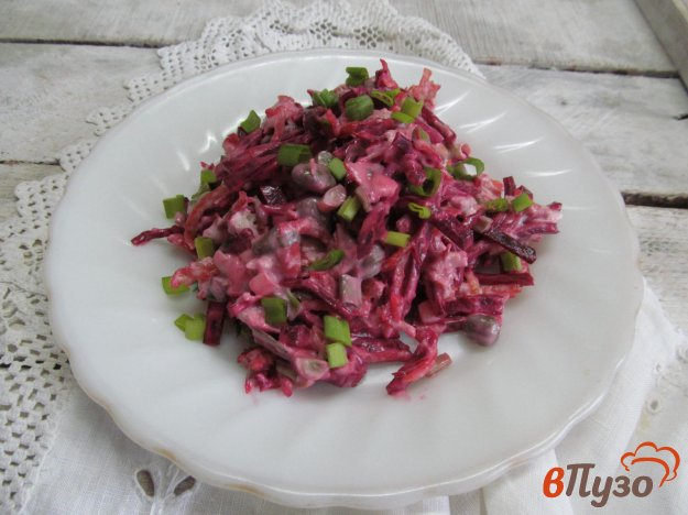 фото рецепта: Салат с жареным картофелем свеклой и мясом