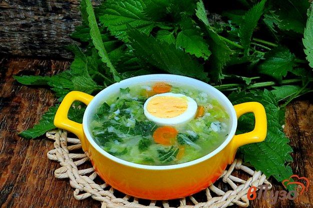 фото рецепта: Зелёный суп с крапивой, капустой и рисом