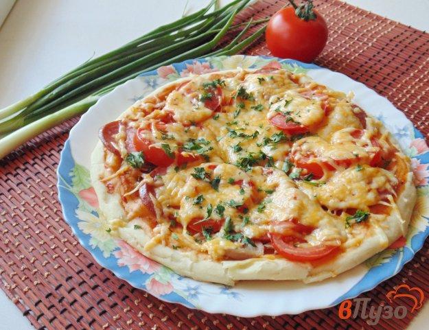 фото рецепта: Пицца с отварной курицей и салями