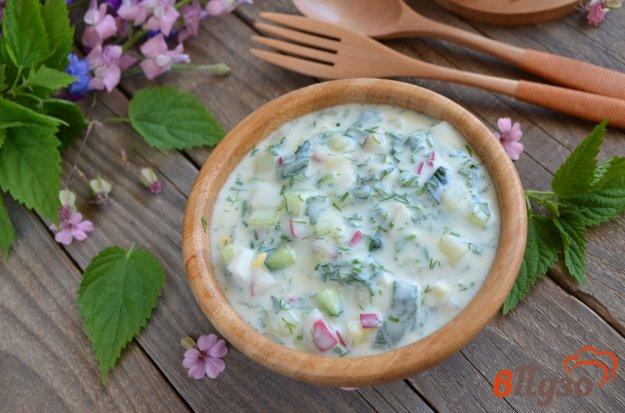 фото рецепта: Окрошка с крапивой и мятой (на кефире)