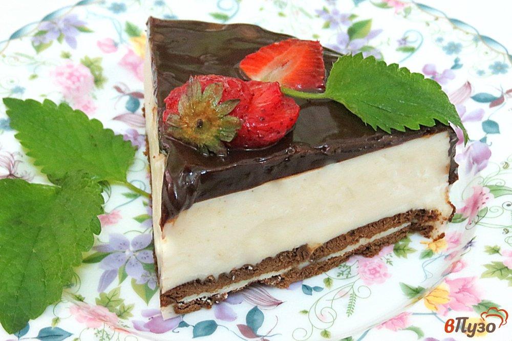 Фото приготовление рецепта: Творожный торт без выпечки шаг №12