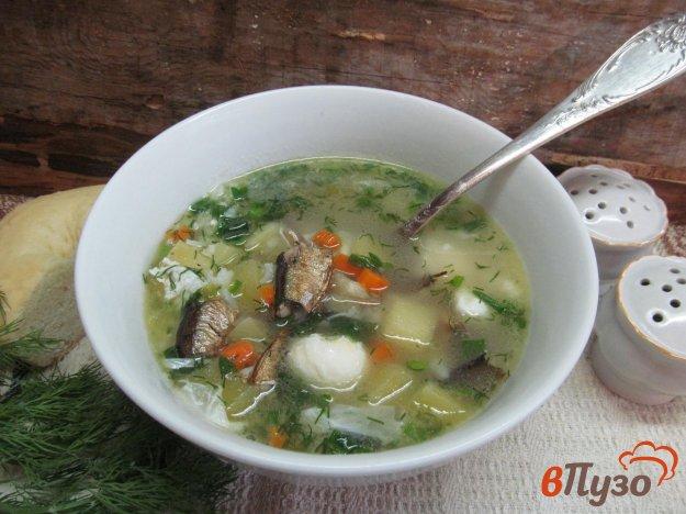 фото рецепта: Суп со шпротами рисом и яйцом