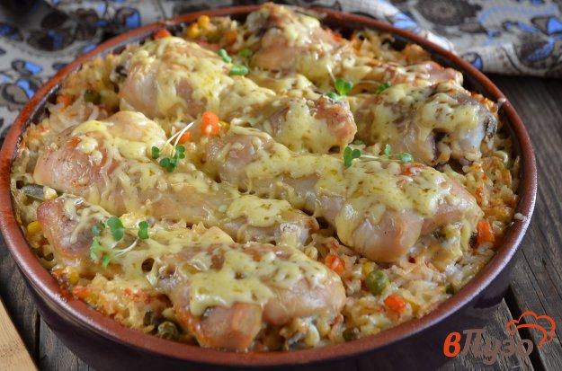 фото рецепта: Куриные ножки, запеченные с рисом и овощами