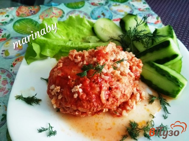 фото рецепта: Ёжики из мясного фарша и риса (тефтели) в томатном соусе