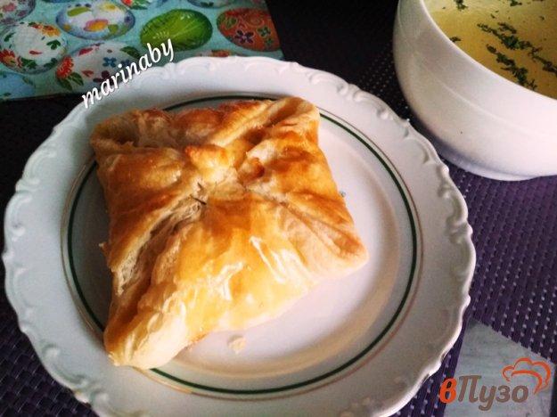 фото рецепта: Слоеные конвертики из куриного филе с бульоном