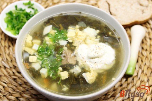 фото рецепта: Зеленый борщ  с телятиной и чесноком