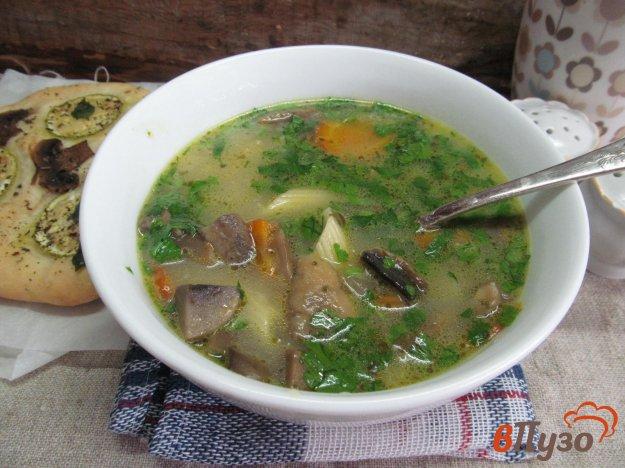 фото рецепта: Суп с шампиньоном и пастой пенне