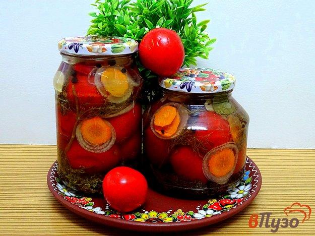 фото рецепта: Помидоры маринованные с луком, морковью и укропом