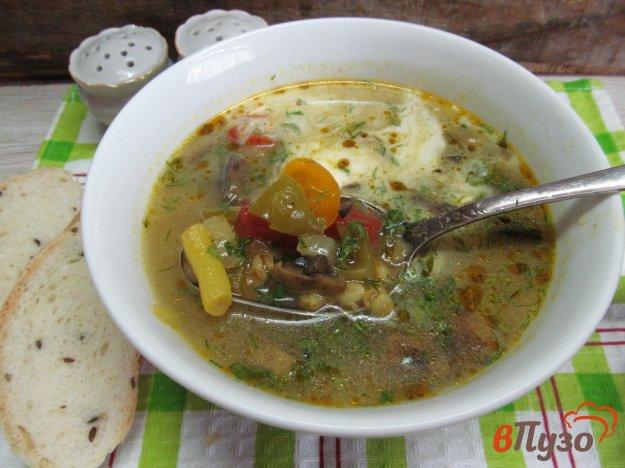 фото рецепта: Овощной суп с грибами и перловой крупой