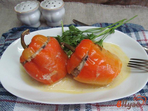 фото рецепта: Фаршированные перцы куриным паштетом перловкой и мясным фаршем