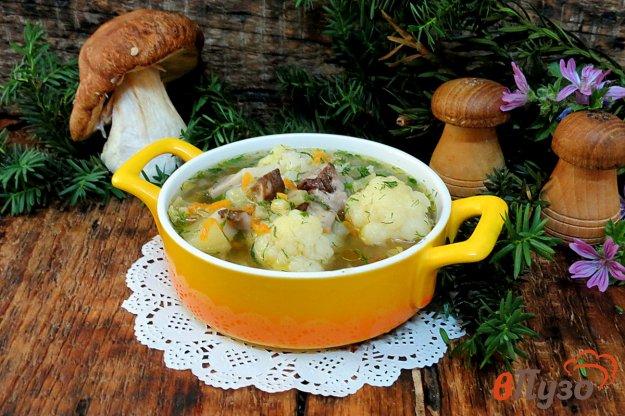 фото рецепта: Суп с белыми грибами и цветной капустой