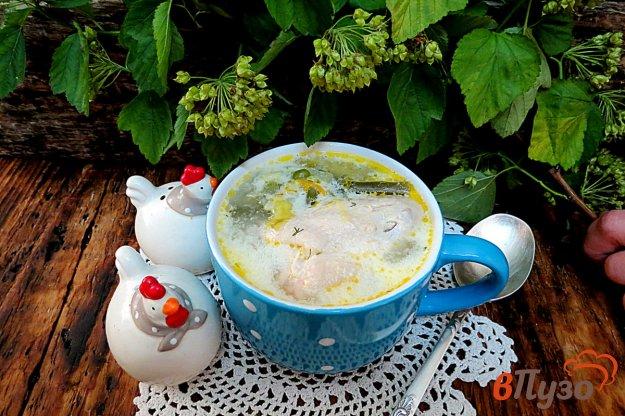 фото рецепта: Суп со спаржевой фасолью, горошком и сливками