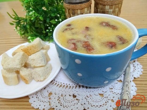 фото рецепта: Гороховый суп пюре с копчёными рёбрами (без картофеля)