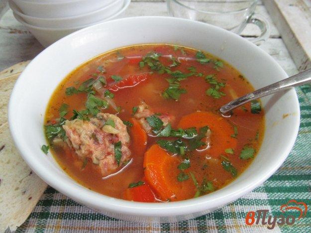 фото рецепта: Овощной суп с клецками из свеклы