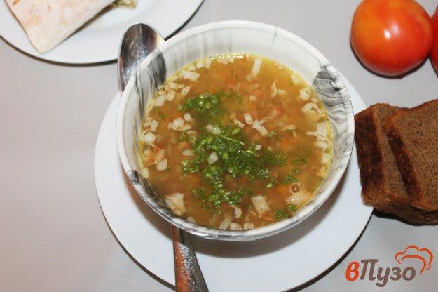 фото рецепта: Гороховый суп на беконе с копченой колбасой