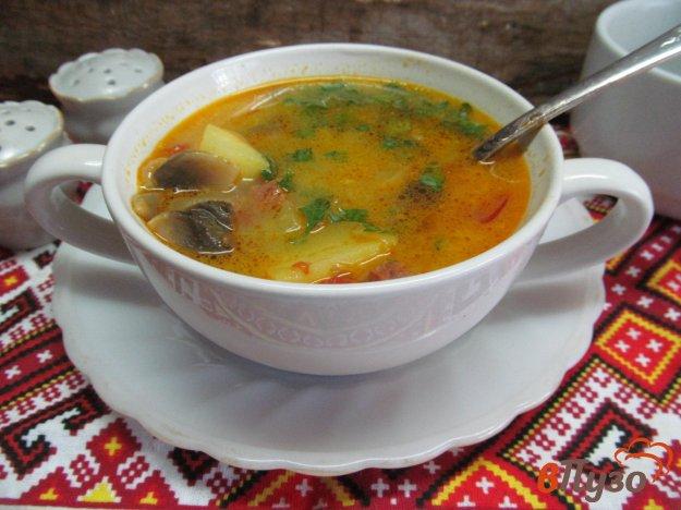 фото рецепта: Суп с маринованным огурцом и колбасой