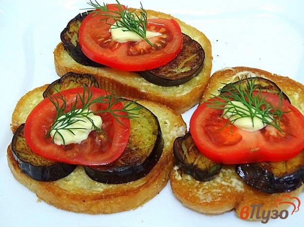 фото рецепта: Бутерброды с баклажанами и помидорами