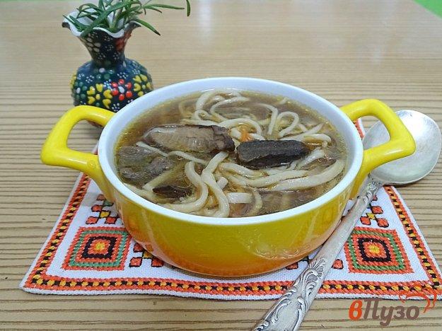 фото рецепта: Суп-лапша из сушёных грибов и домашней лапши