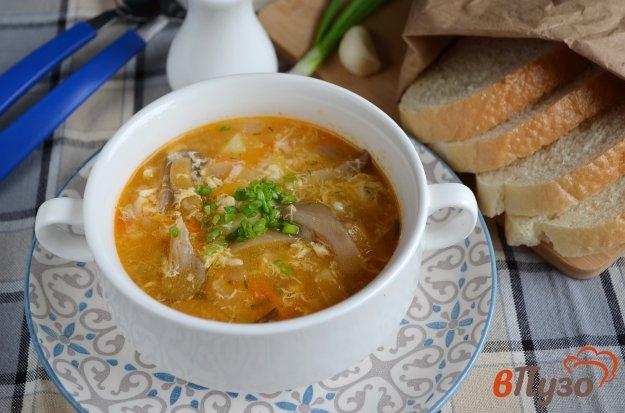 фото рецепта: Суп с вешенкой, рисом и яйцом