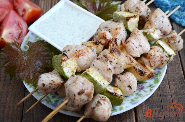фото рецепта: Шашлык из куриного филе с овощами + рецепт соуса