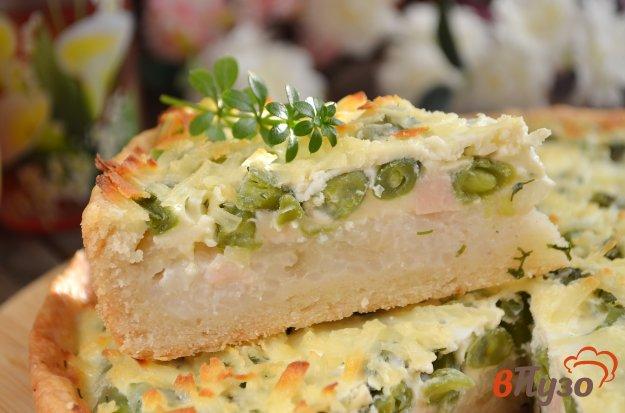 фото рецепта: Пирог с рисом, ветчиной и фасолью