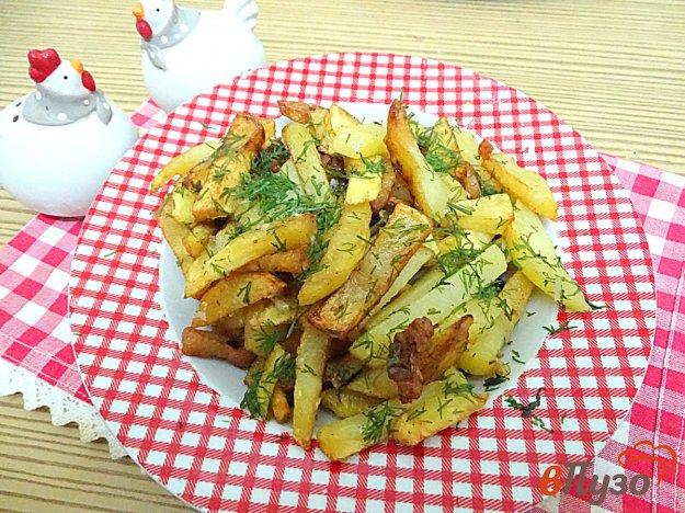 фото рецепта: Картофель жареный на сале с чесноком и укропом