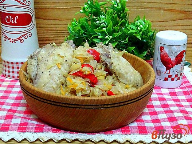 фото рецепта: Ленивый ужин из капусты и куриных крыльев