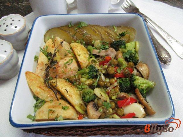 фото рецепта: Жареный картофель с овощами и грибами
