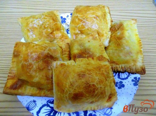 Слоёные пирожки из готового теста с печенью