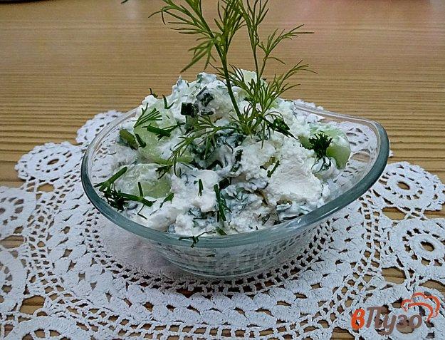 фото рецепта: Салат из творога, огурцов и зелёного лука