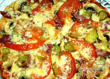 Рецепт Пицца с шампиньонами и салями